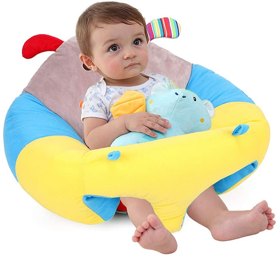 Baby Support Seat Sofa Plush Soft Animal Shaped Baby Learning to Sit Chair Keep Sitting Posture Comfortable for 3-16 Months Baby Waves