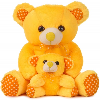 1.5 Feet Mother And Baby Teddy Bear Yellow Colour