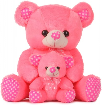 1.5 Feet Mother And Baby Teddy Bear Pink Colour