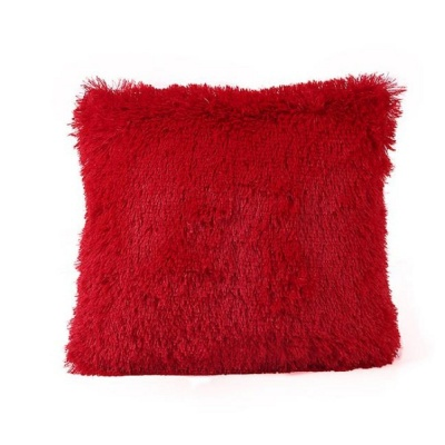 Polyester Double Side Baby Fur Cushion (Red colour, 16x16-inch) Set of 1