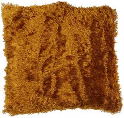 Polyester Double Side Baby Fur Cushion (Brown colour, 16x16-inch) Set of 1