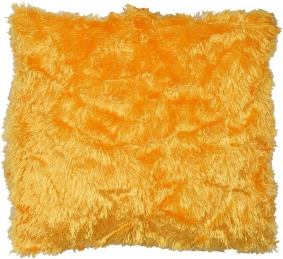 Polyester Double Side Baby Fur Cushion (Yellow colour, 16x16-inch) Set of 1