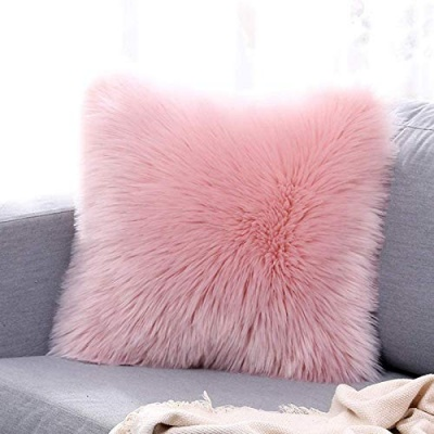 Microfiber Faux Fur Cushion Cover with Filler - Set of 1 (16'x16'), Light Pink
