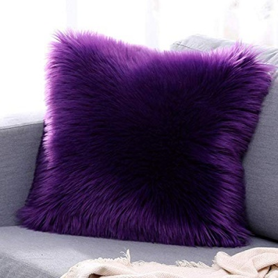 Microfiber Faux Fur Cushion Cover with Filler - Set of 1 (16'x16'), Light Purple