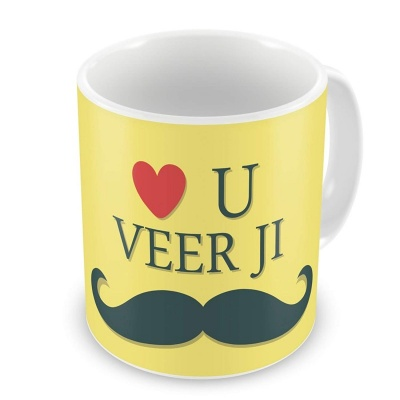 Rakshabandhan Gifts for Brother Love You Veer Ji Quote Yellow Coffee Mug 330 ml - Special Rakhi Gifts for Brother, Brother Gifts for Birthday,