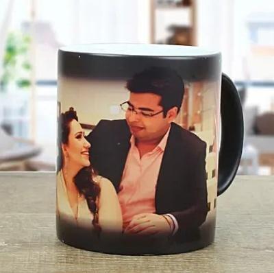 Ceramic Personalized Photo Magic Coffee Mug - 1 Piece, Black, 325 ml