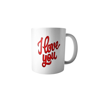 Printed Coffee Mug – I Love You Creative Print Ceramic Milk Tea Drinking Travel Cup with Handgrip
