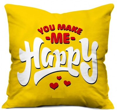 Valentine Gift for Boyfriend Love You Make Me Happy Quote Cushion Cover 12x12 inches with Filler - Valentine Gifts for Girlfriend, Love Gifts for Boyfriend, Gift for Boyfriend Birthday