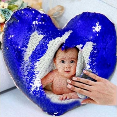 personalized heart shaped sequin cushion magic reveal photo, Messages (Blue) (Cushion for expressing Your Feelings to Your Loved Ones.)