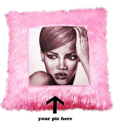Personalized Pink Square Shape Fur Pillow Personalized with Your Photos and & Messages