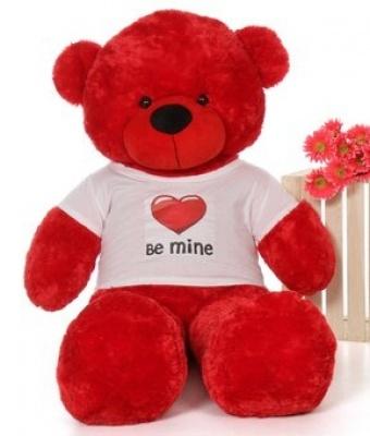 6 Feet Big Red Teddy Bear Wearing Be Mine T-Shirt 72 Inch T-shirt Teddy You're Personalized Message Teddy Bear