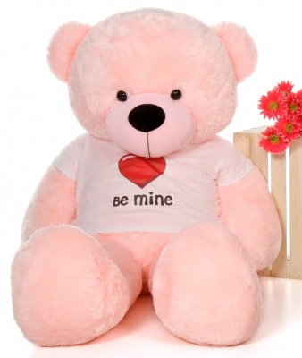 6 Feet Big Pink Teddy Bear Wearing Be Mine T-Shirt 72 Inch T-shirt Teddy You're Personalized Message Teddy Bear