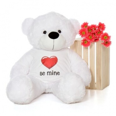 4 Feet Big White Teddy Bear Wearing Be Mine T-Shirt 48 Inch T-shirt Teddy You're Personalized Message Teddy Bears