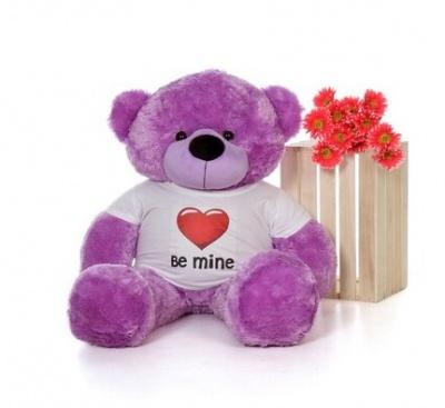 3 Feet Big Purple Teddy Bear Wearing Be Mine T-Shirt 36 Inch T-shirt Teddy You're Personalized Message Teddy Bears