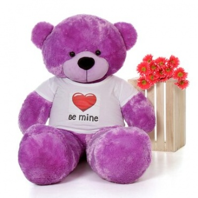5 Feet Big Purple Teddy Bear Wearing Be Mine T-Shirt 60 Inch T-shirt Teddy You're Personalized Message Teddy Bears