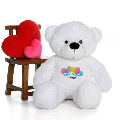 4 Feet White Teddy Bear Wearing Happy Birthday with Your Name