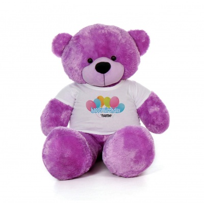 4 Feet Purple Teddy Bear Wearing Happy Birthday with Your Name