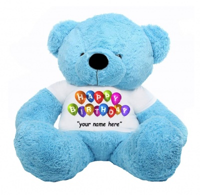4 Feet Sky Blue Teddy Bear Wearing Happy Birthday with Your Name