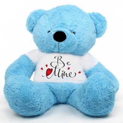 4 Feet Big Sky Blue Teddy Bear Wearing Be Mine T-Shirt 48 Inch T-shirt Teddy You're Personalized Message Teddy Bears