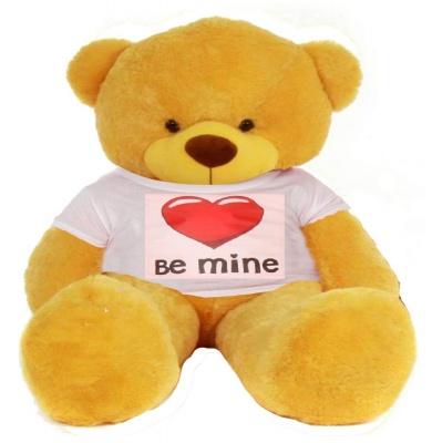 5 Feet Big Yellow Teddy Bear Wearing Be Mine T-Shirt 60 Inch T-shirt Teddy You're Personalized Message Teddy Bears