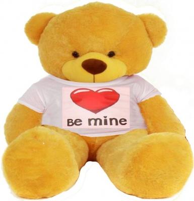 6 Feet Big Yellow Teddy Bear Wearing Be Mine T-Shirt 72 Inch T-shirt Teddy You're Personalized Message Teddy Bears