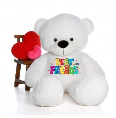 4 Feet Big White Teddy Bear Wearing Best Friend T-Shirt 48 Inch T-shirt Teddy You're Personalized Message Teddy Bears