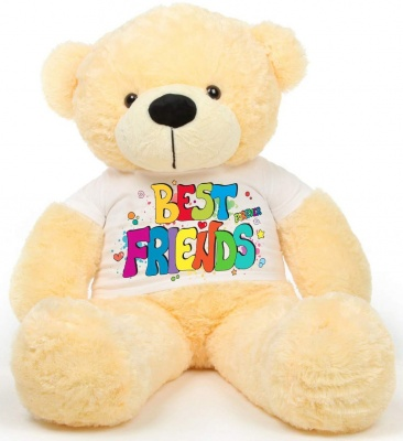 6 Feet Big Cream Teddy Bear Wearing Best Friend  T-Shirt 72 Inch T-shirt Teddy You're Personalized Message Teddy Bears