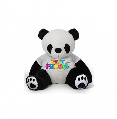 2 Feet Big Panda Bear Wearing Best Friend T-Shirt You're Personalized Message Teddy Bears