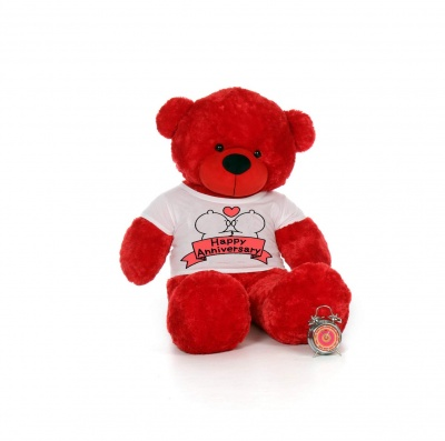 3 Feet Big Red Teddy Bear Wearing Happy Anniversary T-Shirt 36 Inch T-shirt Teddy You're Personalized Message Teddy Bears