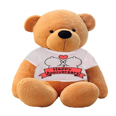 4 Feet Big Brown Teddy Bear Wearing Happy Anniversary T-Shirt 48 Inch T-shirt Teddy You're Personalized Message Teddy Bears
