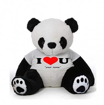 5 Feet Big Panda Bear Wearing Love T-Shirt, 60 Inch Panda, You're Personalized Message Panda Bear