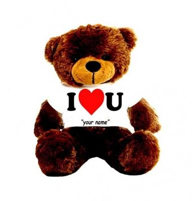 3 Feet Big Chocolate Teddy Bear Wearing Love T-Shirt 36 Inch T-shirt Teddy You're Personalized Message Teddy Bears