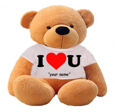 5 Feet Big Brown Teddy Bear Wearing Love T-Shirt 60 Inch T-shirt Teddy You're Personalized Message Teddy Bear