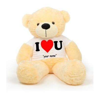 4 Feet Big Cream Teddy Bears Wearing Love T-Shirt 48 Inch T-shirt Teddy You're Personalized Message Teddy Bears