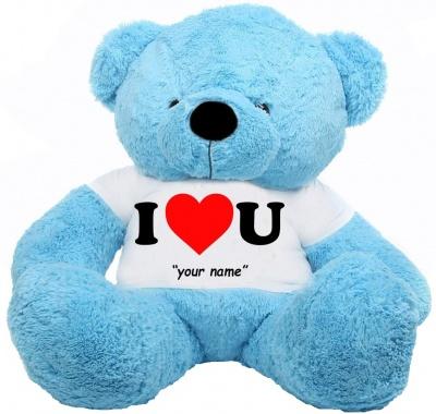 6 Feet Big Sky Blue Teddy Bear Wearing Love T-Shirt 72 Inch T-shirt Teddy You're Personalized Message Teddy Bears
