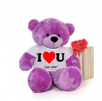 4 Feet Big Purple Teddy Bears Wearing Love T-Shirt 48 Inch T-shirt Teddy You're Personalized Message Teddy Bears