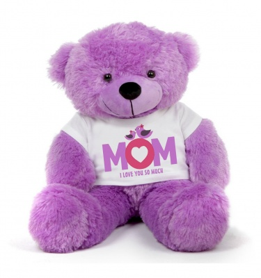 4 Feet Big Purple Teddy Bears Wearing Love MOM T-Shirt, 48 Inch T-shirt Teddy, You're Personalized Message Teddy Bears