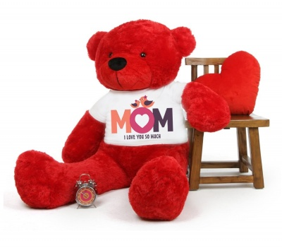 3 Feet Big Red Teddy Bear Wearing Love MOM T-Shirt 36 Inch T-shirt Teddy You're Personalized Message Teddy Bears