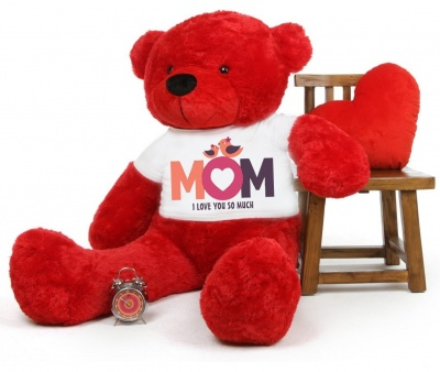 4 Feet Big Red Teddy Bears Wearing Love MOM T-Shirt, 48 Inch T-shirt Teddy, You're Personalized Message Teddy Bears