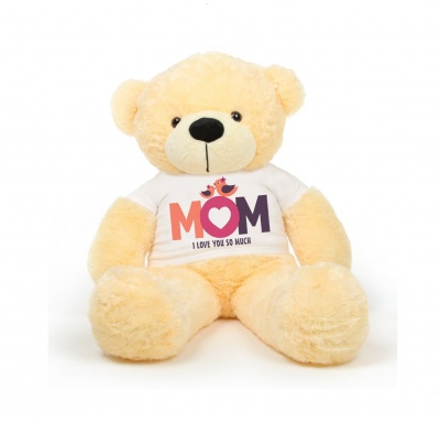 3 Feet Big Cream Teddy Bear Wearing Love MOM T-Shirt 36 Inch T-shirt Teddy You're Personalized Message Teddy Bears