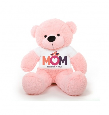 2 Feet Big Pink Teddy Bear Wearing Love MOM T-Shirt You're Personalized Message Teddy Bears