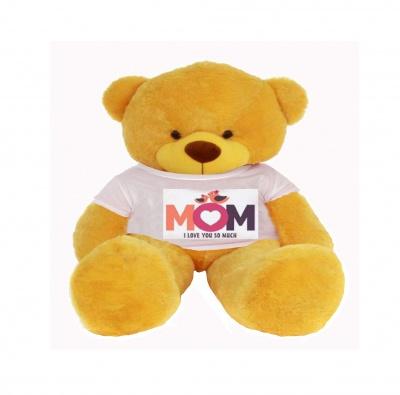 2 Feet Big Yellow Teddy Bear Wearing Love MOM T-Shirt You're Personalized Message Teddy Bears
