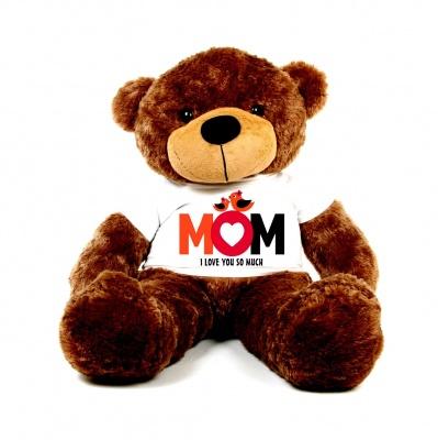 3 Feet Big Chocolate Teddy Bear Wearing Love MOM T-Shirt 36 Inch T-shirt Teddy You're Personalized Message Teddy Bears