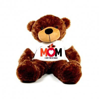 2 Feet Big Chocolate Teddy Bear Wearing Love MOM T-Shirt You're Personalized Message Teddy Bears