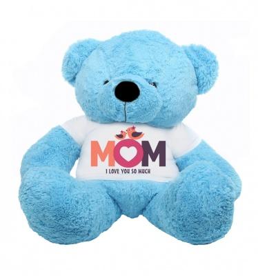 4 Feet Big Sky Blue Teddy Bears Wearing Love MOM T-Shirt, 48 Inch T-shirt Teddy, You're Personalized Message Teddy Bears
