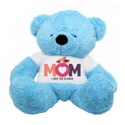 5 Feet Big Sky Blue Teddy Bear Wearing Love MOM T-Shirt, 60 Inch T-shirt Teddy, You're Personalized Message Teddy Bear