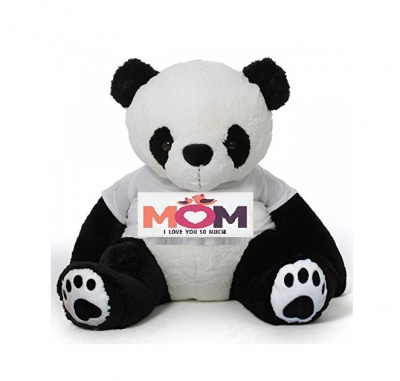 2 Feet Big Panda Bear Wearing Love MOM T-Shirt You're Panda, Personalized Message Panda Bears