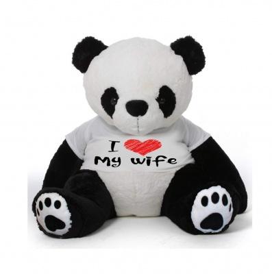 3 Feet Big Panda Bear Wearing Love Wife T-Shirt 36 Inch T-shirt Panda You're Personalized Message Panda Bears