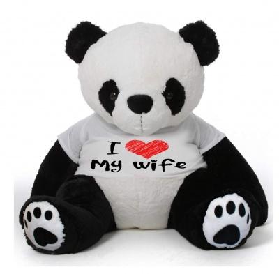 5 Feet Big Panda Bear Wearing Love Wife T-Shirt, 60 Inch T-shirt Panda, You're Personalized Message Panda Bear