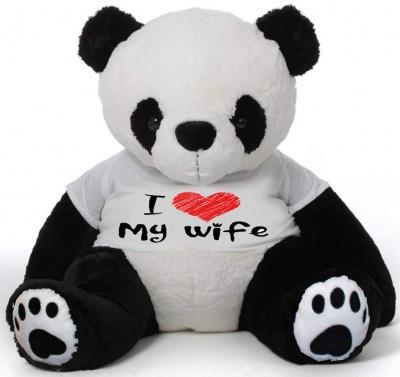 6 Feet Big Panda Bear Wearing Love Wife T-Shirt 72 Inch T-shirt Panda, You're Personalized Message Panda Bears